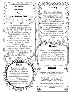 Newsletter Reception Class 20 th January 2016 This