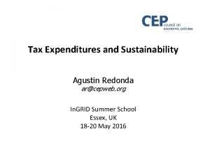 Tax Expenditures and Sustainability Agustin Redonda arcepweb org