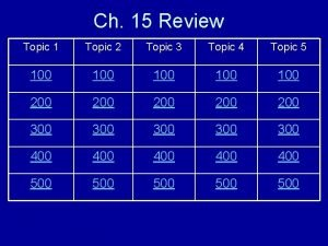 Ch 15 Review Topic 1 Topic 2 Topic