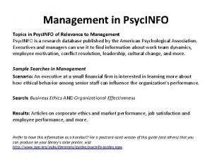 Management in Psyc INFO Topics in Psyc INFO