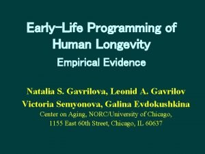 EarlyLife Programming of Human Longevity Empirical Evidence Natalia