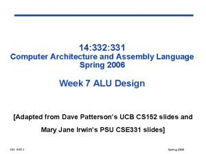 14 332 331 Computer Architecture and Assembly Language