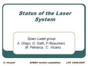 Status of the Laser System Sparc Laser group