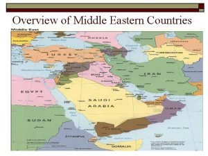 Overview of Middle Eastern Countries Syria o o
