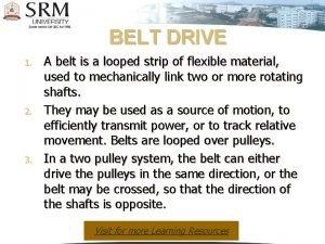 BELT DRIVE 1 2 3 A belt is