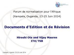 Forum de normalisation pour lAfrique Kampala Ouganda 23