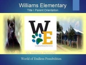 Williams Elementary Title I Parent Orientation Go Williams