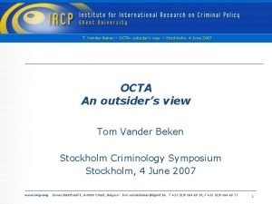 T Vander Beken OCTA outsiders view Stockholm 4