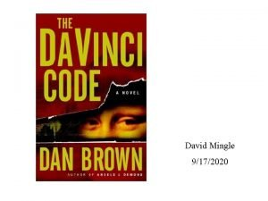 David Mingle 9172020 Genre Fiction Biography Historical Fiction