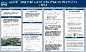 OPTIONAL LOGO HERE Care of Transgender Clients in