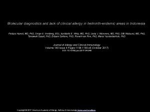 Molecular diagnostics and lack of clinical allergy in