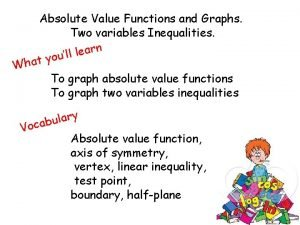 Absolute Value Functions and Graphs Two variables Inequalities