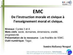 EMC De linstruction morale et civique lenseignement moral
