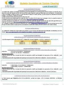Bulletin Quotidien de Tunisie Clearing Lundi 28 aot