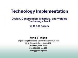 Technology Implementation Design Construction Materials and Welding Technology