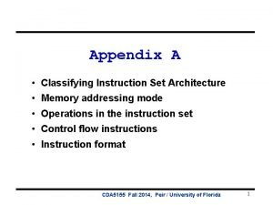 Appendix A Classifying Instruction Set Architecture Memory addressing