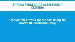 SPRING TERM 2 A RE ASSESSMENT CRITERIA Assessment