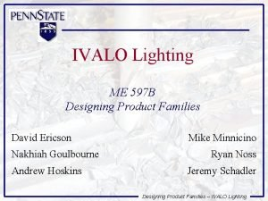 IVALO Lighting ME 597 B Designing Product Families