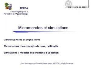 TECFA Technologies pour la Formation et lApprentissage Micromondes