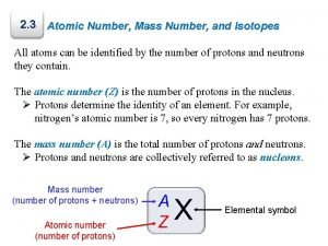 2 3 Atomic Number Mass Number and Isotopes