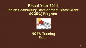 Fiscal Year 2014 Indian Community Development Block Grant