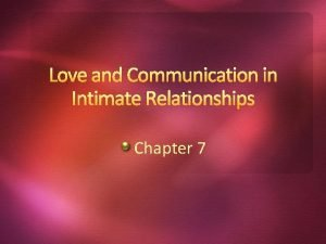 Love and Communication in Intimate Relationships Chapter 7