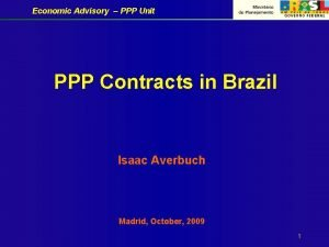 Economic Advisory PPP Unit PPP Contracts in Brazil