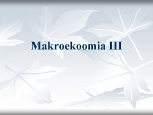Makroekoomia III Krkesa agregate dhe produkti ekuilibr Krkesa
