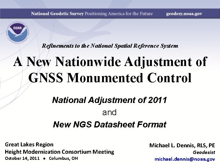 Refinements to the National Spatial Reference System A