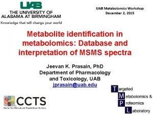 UAB Metabolomics Workshop December 2 2015 Metabolite identification