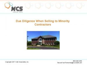 Due Diligence When Selling to Minority Contractors Copyright