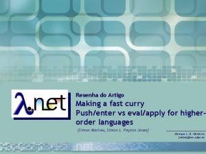 Resenha do Artigo Making a fast curry Pushenter
