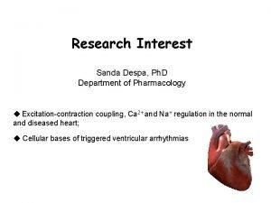 Research Interest Sanda Despa Ph D Department of