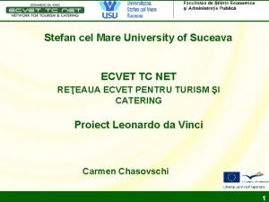 Stefan cel Mare University of Suceava ECVET TC