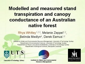 Modelled and measured stand transpiration and canopy conductance
