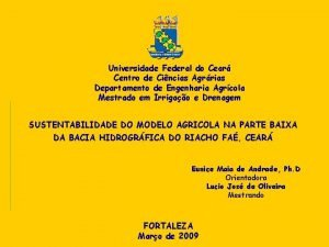 Universidade Federal do Cear Centro de Cincias Agrrias