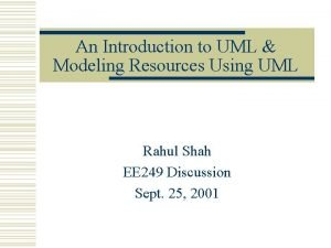 An Introduction to UML Modeling Resources Using UML