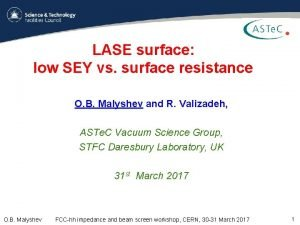 LASE surface low SEY vs surface resistance O