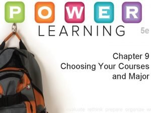 Chapter 9 Choosing Your Courses and Major Choosing