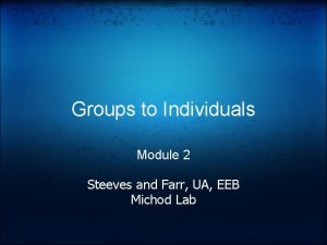 Groups to Individuals Module 2 Steeves and Farr