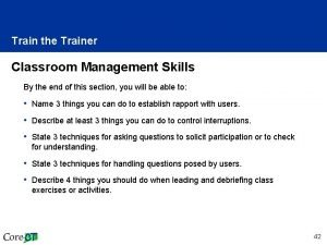 Train the Trainer Classroom Management Skills By the