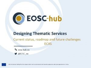 Designing Thematic Services Current status roadmap and future