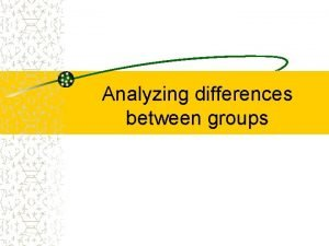 Analyzing differences between groups CHAPTER 13 Analyzing Differences