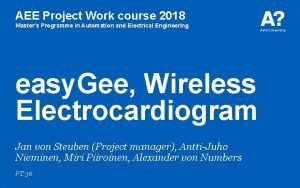AEE Project Work course 2018 Masters Programme in
