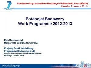 Szkolenie dla pracownikw Naukowych Politechniki Koszaliskiej Koszalin 2