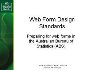 Web Form Design Standards Preparing for web forms