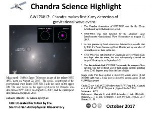 Chandra Science Highlight GW 170817 Chandra makes first
