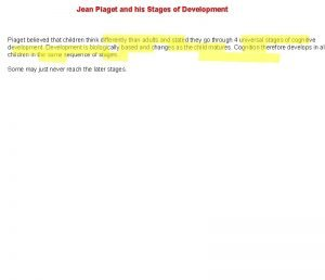 Jean Piaget and his Stages of Development Piaget