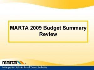MARTA 2009 Budget Summary Review 1 Transit Budgeting