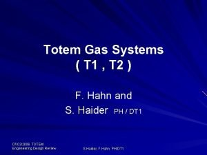 Totem Gas Systems T 1 T 2 F